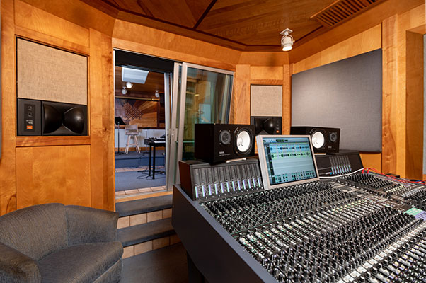 Photo of recording studio mixing board
